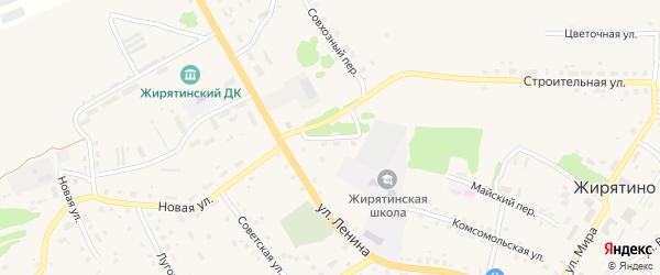 Школьный переулок на карте села Жирятино с номерами домов