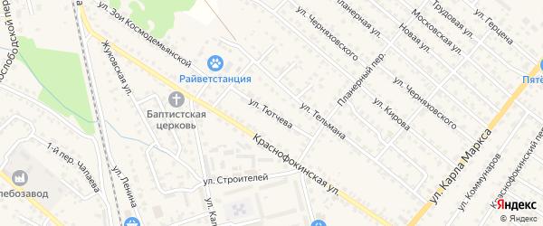 Улица Тютчева на карте Жуковки с номерами домов