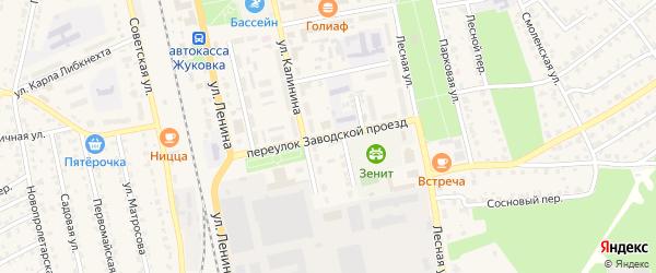 Переулок Заводской проезд на карте Жуковки с номерами домов