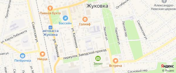 Школьный переулок на карте Жуковки с номерами домов
