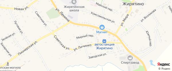 Мирный переулок на карте села Жирятино с номерами домов