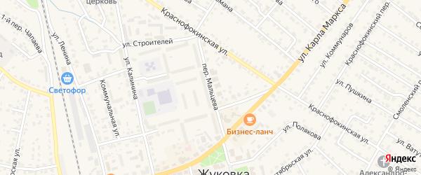 Переулок Мальцева на карте Жуковки с номерами домов