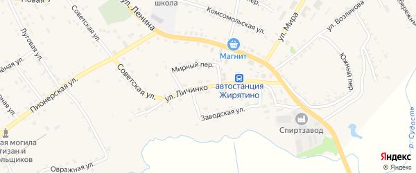 Улица Личинко на карте села Жирятино с номерами домов