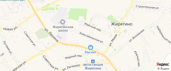 Комсомольская улица на карте села Жирятино с номерами домов