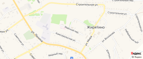Майский переулок на карте села Жирятино с номерами домов