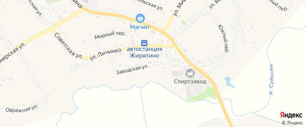 Заводская улица на карте села Жирятино с номерами домов