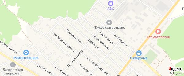 Планерный переулок на карте Жуковки с номерами домов
