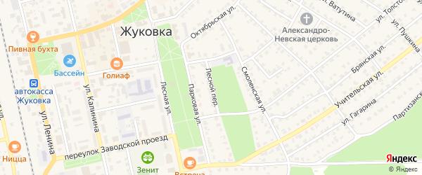 Лесной переулок на карте Жуковки с номерами домов