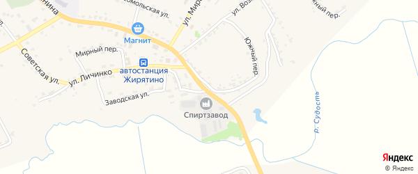 Южный переулок на карте села Жирятино с номерами домов