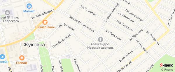 Октябрьский переулок на карте Жуковки с номерами домов