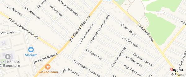 Краснофокинский переулок на карте Жуковки с номерами домов