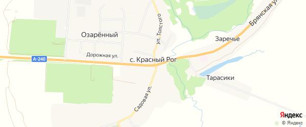Карта села Красного Рога в Брянской области с улицами и номерами домов