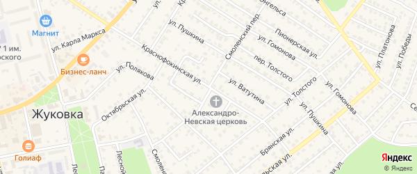 Смоленский переулок на карте Жуковки с номерами домов