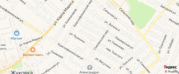 Профсоюзная улица на карте Жуковки с номерами домов