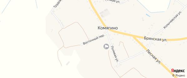 Восточный переулок на карте деревни Комягино с номерами домов