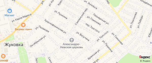 Улица Ватутина на карте Жуковки с номерами домов