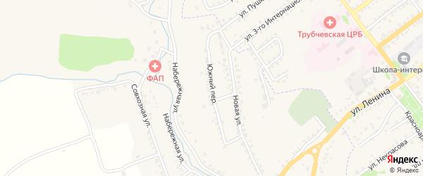 Южный переулок на карте деревни Тельца с номерами домов