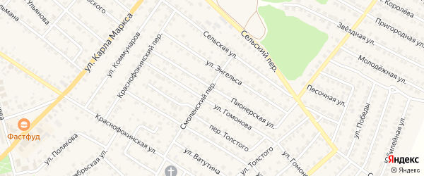 Пионерская улица на карте Жуковки с номерами домов