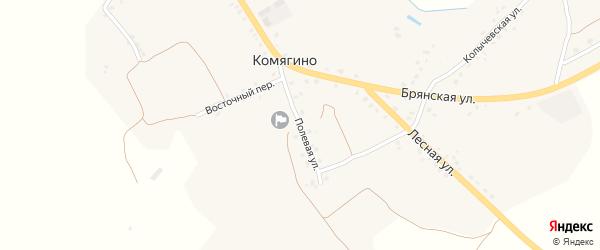 Полевая улица на карте деревни Комягино с номерами домов