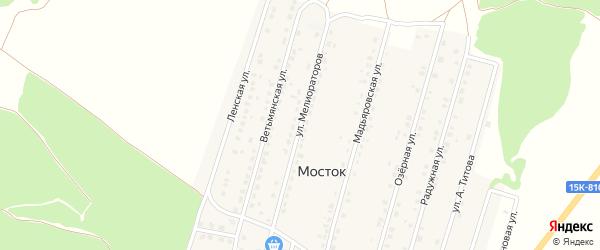 Улица Мелиораторов на карте деревни Мостка с номерами домов