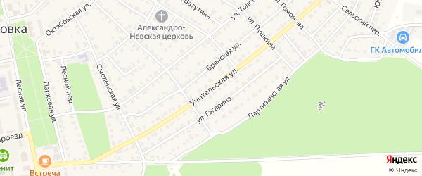 Учительская улица на карте Жуковки с номерами домов