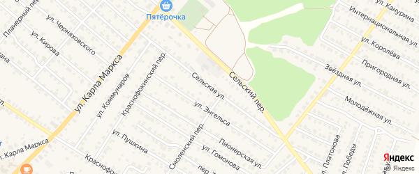 Сельская улица на карте Жуковки с номерами домов