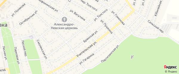 Брянская улица на карте Жуковки с номерами домов