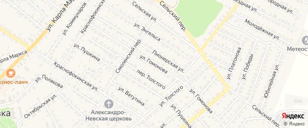 Улица Гомонова на карте Жуковки с номерами домов