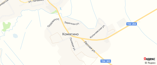 Карта деревни Комягино в Брянской области с улицами и номерами домов