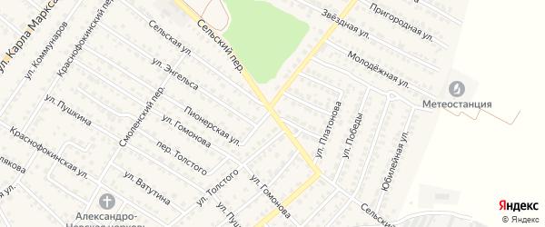 Сельский переулок на карте Жуковки с номерами домов
