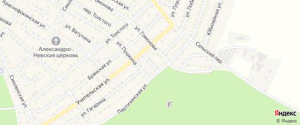 Учительский переулок на карте Жуковки с номерами домов