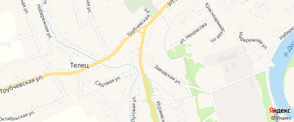 Заводская улица на карте деревни Тельца с номерами домов