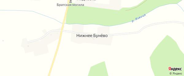 Ключевая улица на карте деревни Нижнее Бунево с номерами домов