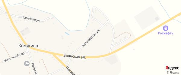 Колычевская улица на карте деревни Комягино с номерами домов