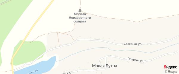 Приозерная улица на карте деревни Малой Лутны с номерами домов
