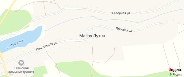Северная улица на карте деревни Малой Лутны с номерами домов