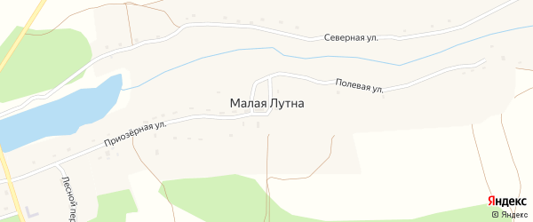 Полевая улица на карте деревни Малой Лутны с номерами домов