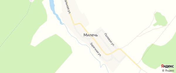 Карта села Милечи в Брянской области с улицами и номерами домов