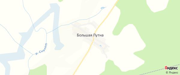 Карта деревни Большей Лутны в Брянской области с улицами и номерами домов