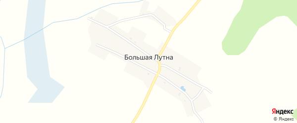 Озерная улица на карте деревни Большей Лутны с номерами домов