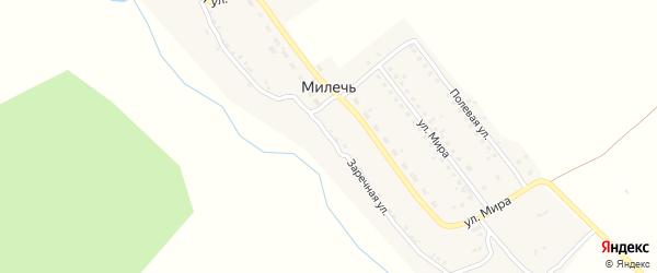 Заречная улица на карте села Милечи с номерами домов