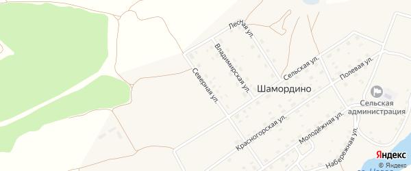 Северная улица на карте деревни Шамордино с номерами домов