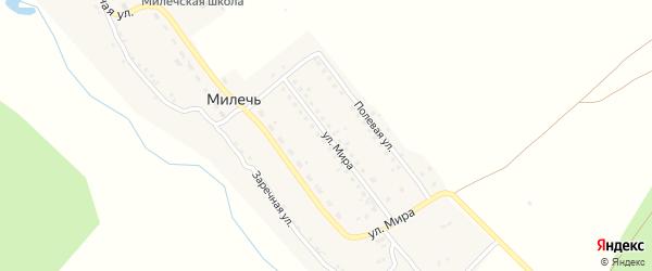 Улица Мира на карте села Милечи с номерами домов