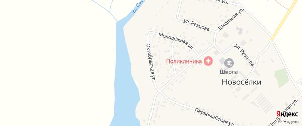 Октябрьская улица на карте села Новоселки с номерами домов