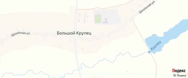 Школьная улица на карте деревни Большого Крупца с номерами домов