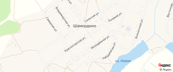 Красногорская улица на карте деревни Шамордино с номерами домов