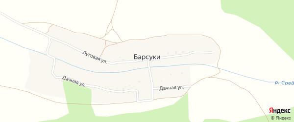 Дачная улица на карте деревни Барсуки с номерами домов