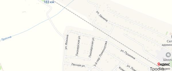 Улица Фокина на карте поселка Тросны с номерами домов