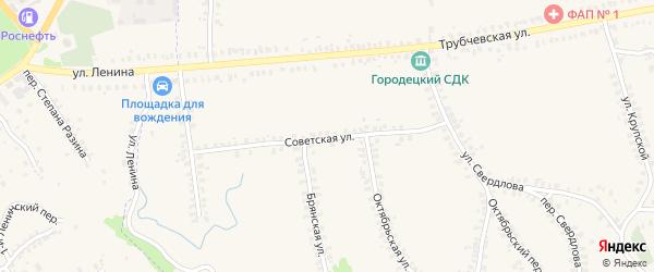 Советская улица на карте деревни Городцы с номерами домов