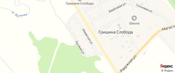 Ижевская улица на карте деревни Гришиной Слободы с номерами домов